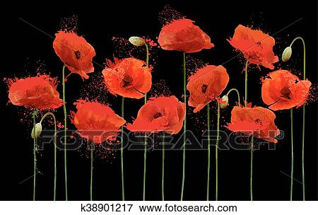 Clip art of abstract background with red poppies flowers vector abstract background with red poppies flowers vector mightylinksfo