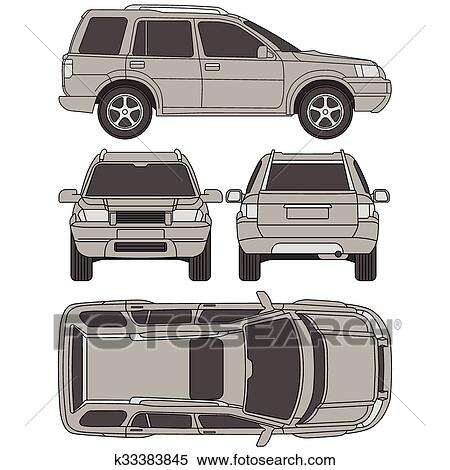 Clipart of Car truck, suv, 4x4, line draw, rent damage, condition ...