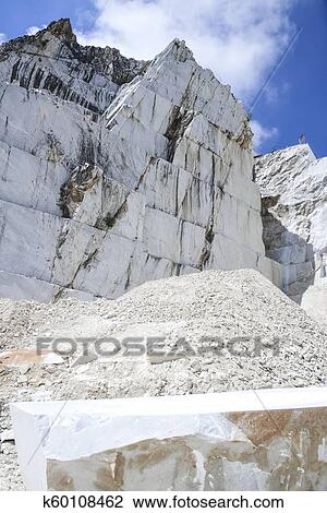 Carrara marble  Quarry on the Apuan Alps, Tuscany, Italy Stock Image