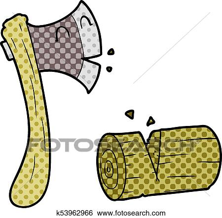Cartoon Axe Chopping Wood Clip Art K53962966 Fotosearch