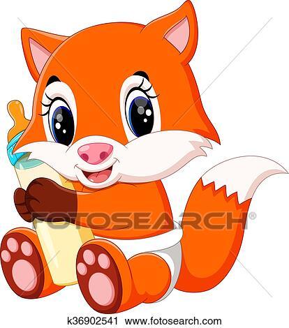 Clipart cute beb raposa caricatura k36902541 busca de ilustra es clip art desenhos - Clipart renard ...