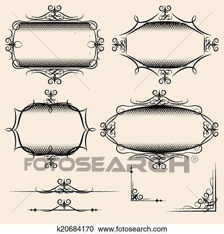 Clipart of Four elegant vector vintage frames k20684170 - Search ...