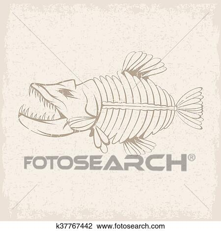 Clipart Of Grunge Vector Design Template Aggressive Tropical Fish