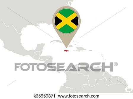 Jamaica On World Map Clipart K35959371 Fotosearch