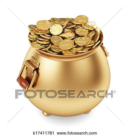 clipart of pot of gold coins k17411781 search clip illustration murals drawings and