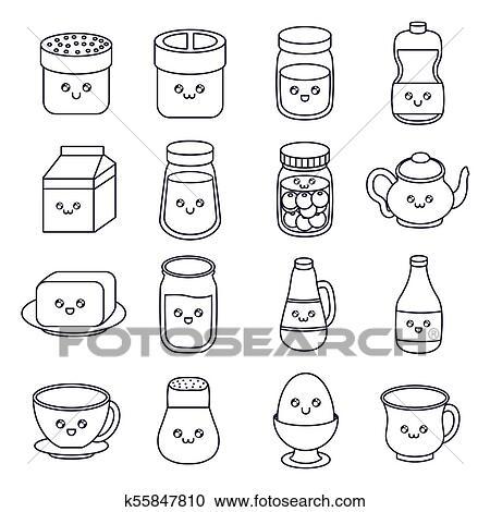Kawaii Comida Café Manhã Desenho Clipart