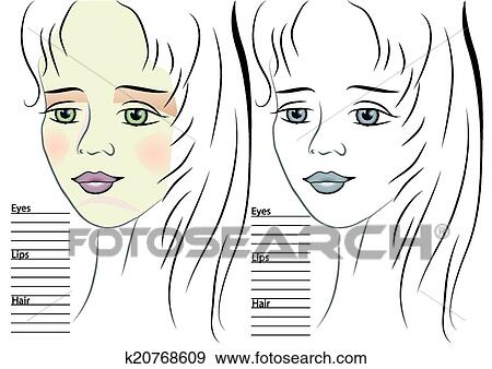 Clip Art of portrait of girl. makeup sketch template k20768609 ...