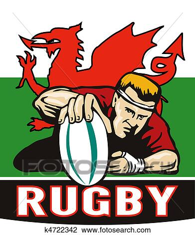 clip art of rugby player scoring try wales flag k4722342 search rh fotosearch com rugby clip art free rugby clipart black and white