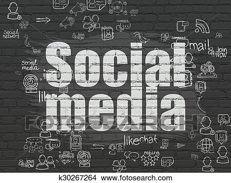 Social Media Concept Painted White Text On Black Brick Wall Background With Scheme Of Hand Drawn Network Icons