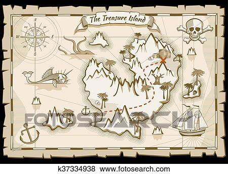 Carte Au Tresor Pirate.Tresor Pirate Main Dessine Vecteur Carte Clipart