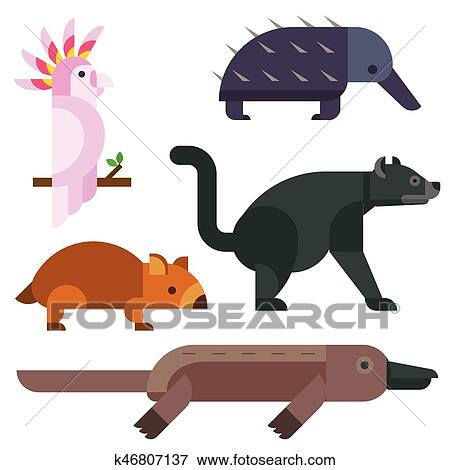 australian cartoon characters australia wild animals cartoon popular nature characters flat style and  australian mammal aussie native forest collection vector illustration. clip