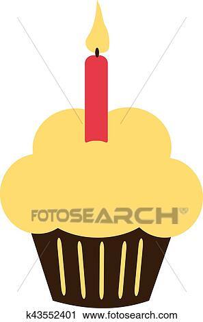 Birthday Cupcake With Candle Clipart K43552401 Fotosearch