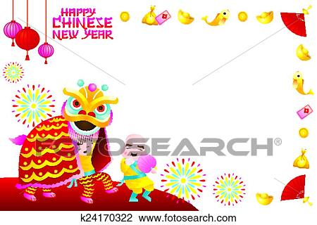 clipart chinese new year frame lion dance fotosearch search clip art