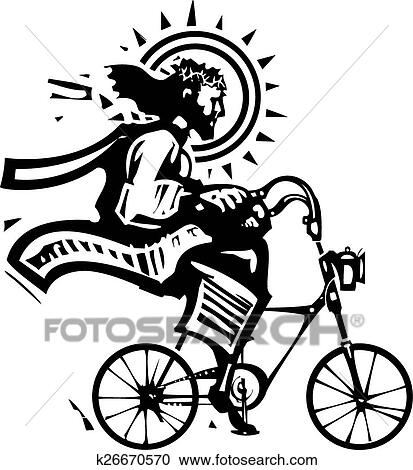Clipart Of Christ On A Fixie K26670570