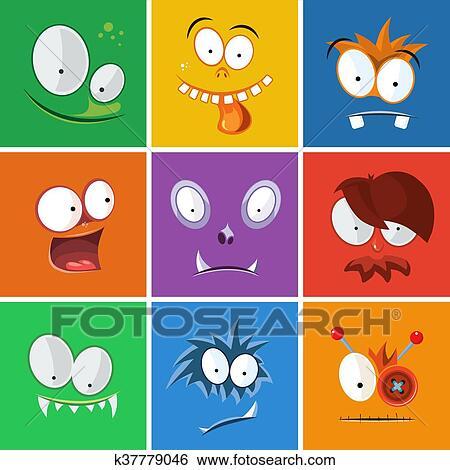 Dessin Anime Visages Droles A Emotions Monstres Expression Vecteur Ensemble Clipart K37779046 Fotosearch