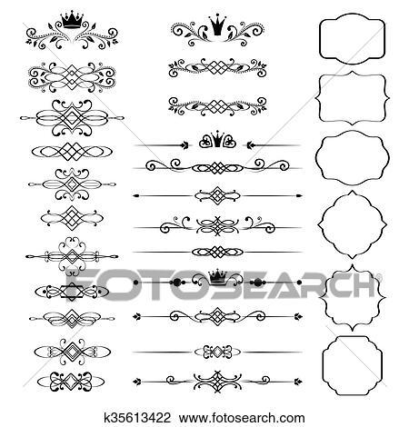 Clipart of Floral design elements set, ornamental vintage frames ...