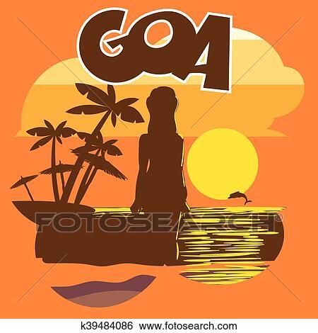 clip art of goa beach flyer with a woman silhou k39484086 search