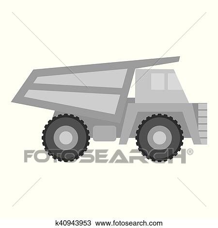 Haul Truck Icon In Monochrome Style Isolated On White Background