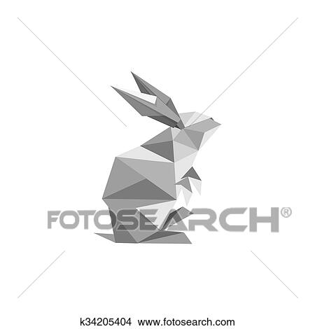Clipart Of Illustration With Origami Rabbit Symbol K34205404
