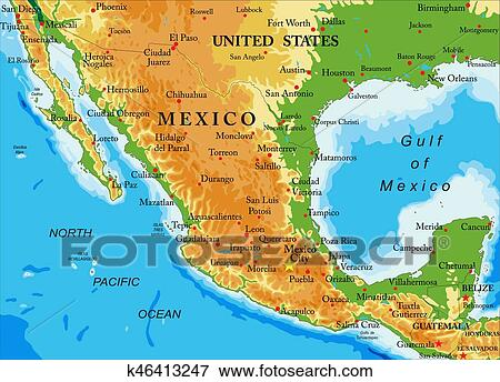 Clip Art of Mexico-relief map k46413247 - Search Clipart ...