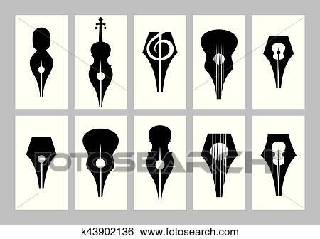 Monocromo Conjunto De Plantillas Para Tarjeta Comercial Con Punta Guitarra Violín Clave De Sol Clip Art