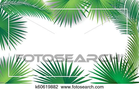 Palm Tree Leaves Tropical Frame Sukkot Sukkah Decoration Drawing K60619882 Fotosearch