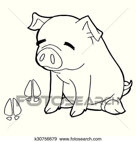 Pig With Paw Print Coloring Pages V Clip Art K30756679 Fotosearch