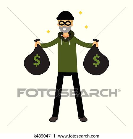 9b4dc4f6545 Clipart - Robber character standing with two money bags vector Illustration.  Fotosearch - Search Clip