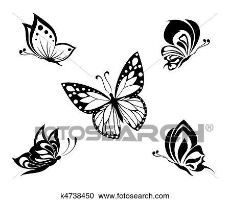 clipart tatouage noir blanc papillons k4738450 recherchez des clip arts des illustrations. Black Bedroom Furniture Sets. Home Design Ideas