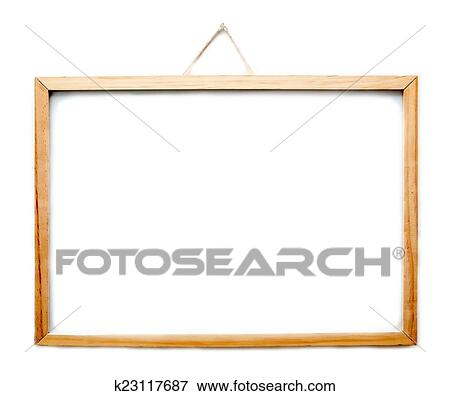 Picture Of Wooden Frame Whiteboard Hanging Isolated On White