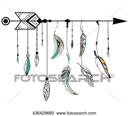 Arrow and feather for Tribal boho style Clipart