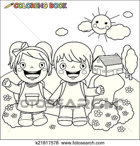 clip art of coloring book kids at school k21817578 search clipart