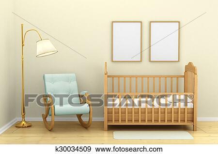 Stock Illustraties - de slaapkamer van kinderen, met, een, wiegje ...