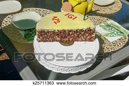 Tremendous Half Year Chocolate Birthday Cake Stock Image K25711363 Fotosearch Personalised Birthday Cards Veneteletsinfo