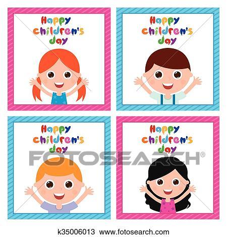 Happy childrens day kid scene - Download Free Vectors, Clipart Graphics &  Vector Art