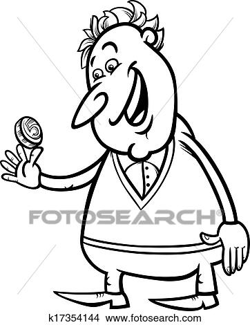 Clipart of lucky man with coin coloring page k17354144 - Search Clip ...