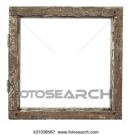 Picture of Very old grunged wooden window frame isolated in white ...