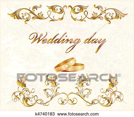Clipart Of Wedding Card K4740183 Search Clip Art Illustration