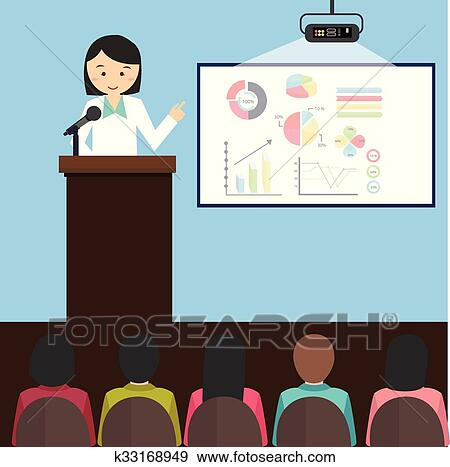 clip art of woman girl female give presentation presenting chart