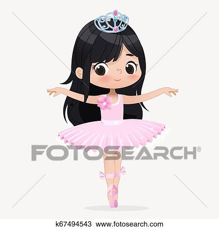 Cute Child Girl Ballerina Dancing Isolated Caucasian Ballet Dancer Princess Character Jump Motion Elegant Child Wear Pink Tutu For School Brunette Doll Concept Flat Cartoon Vector Illustration Clipart K67494543 Fotosearch