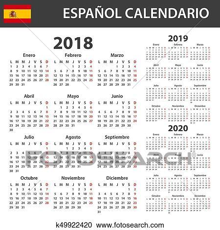 Calendario Diario 2020.Espanol Calendario Para 2018 2019 Y 2020 Planificador Agenda O Diario Template Semana Comienzos En Lunes Clipart