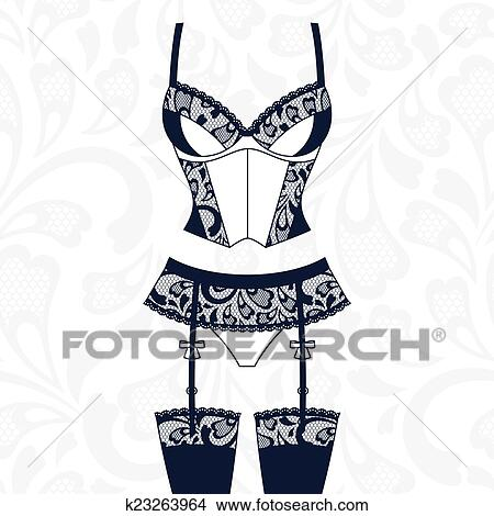 clipart of fashion female lingerie with vintage lace ornament rh fotosearch com