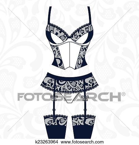 clipart of fashion female lingerie with vintage lace ornament rh fotosearch com lingerie clip art for invitations