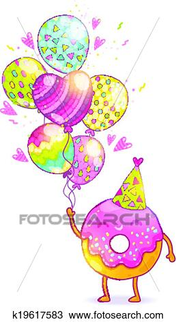 Clipart Of Happy Birthday Card Background With Cute Donut K19617583