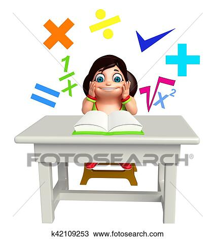 Kid Girl With Math Sign And Book Drawing K42109253 Fotosearch