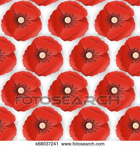 Memorial Day Seamless Pattern With Paper Cut Out Red Poppy Flowers