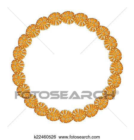 e57ee09d7d77 Clip Art - round frame - gold chain on the white background.. Fotosearch -