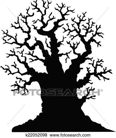 Clip Art Of Silhouette Of Leafless Oak Tree K22052098
