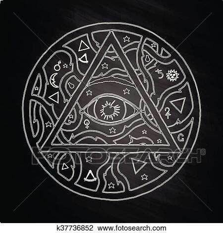 Clipart Tout Voir Oeil Pyramide Symbole Dans Tatouage