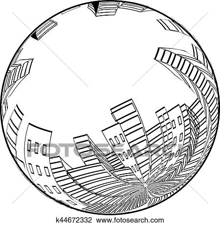 Vector City Scene In The Globe Cityscape Silhouette Of Skyscrapers